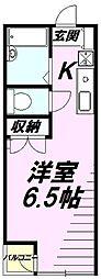 東京都八王子市中野上町2丁目の賃貸アパートの間取り
