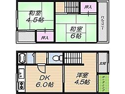 [一戸建] 大阪府大阪市阿倍野区阿倍野筋3丁目 の賃貸【/】の間取り