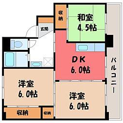 栃木県小山市大字雨ケ谷の賃貸マンションの間取り
