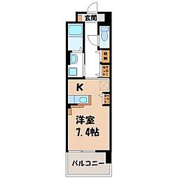 カシリ・エスポワール 1階1Kの間取り