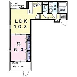 JR相模線 社家駅 徒歩10分の賃貸アパート 1階1LDKの間取り
