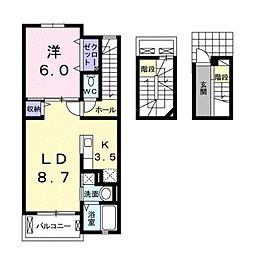 愛知県豊橋市三ノ輪町4丁目の賃貸アパートの間取り