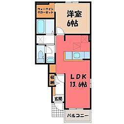 栃木県栃木市小平町の賃貸アパートの間取り