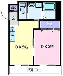 ヒサティII 1階1DKの間取り