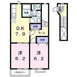 ファミールHAKUHOU B[2階]の間取り
