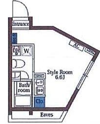 ヒルサイドテラス広尾 3階ワンルームの間取り