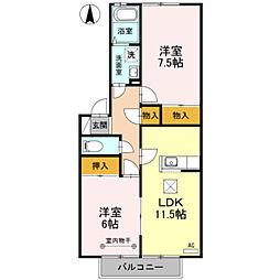 埼玉県三郷市東町の賃貸アパートの間取り