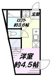 JR中央線 立川駅 徒歩13分の賃貸アパート 2階ワンルームの間取り