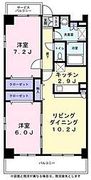 トレゾア 2階2LDKの間取り