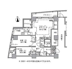 JR山手線 浜松町駅 徒歩3分の賃貸マンション 31階2LDKの間取り