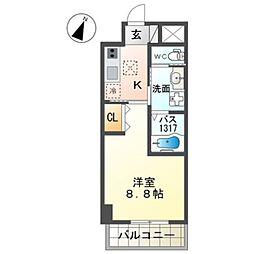 泉北高速鉄道 和泉中央駅 徒歩7分の賃貸マンション 2階1Kの間取り