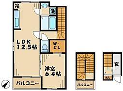 京王相模原線 京王多摩センター駅 徒歩25分の賃貸アパート 3階1LDKの間取り
