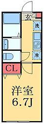 京成本線 京成大久保駅 徒歩13分の賃貸アパート 1階1Kの間取り