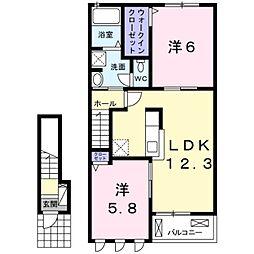 ヌーベルコートA[2階]の間取り