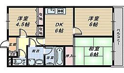 大阪府堺市中区深阪1丁の賃貸マンションの間取り