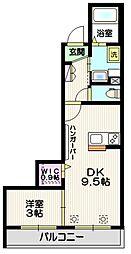 湘南新宿ライン宇須 土呂駅 徒歩3分の賃貸マンション 2階1DKの間取り