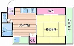 大阪府大阪市中央区高津3丁目の賃貸マンションの間取り