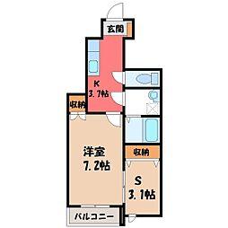JR東北本線 宇都宮駅 バス12分 桜四丁目下車 徒歩3分の賃貸アパート 1階1SKの間取り