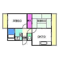 JR阪和線 三国ヶ丘駅 徒歩14分の賃貸マンション 3階2DKの間取り