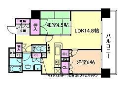 クレヴィア大阪福島[2階]の間取り