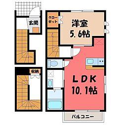 花舎R 3階1LDKの間取り
