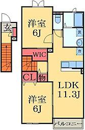 千葉県大網白里市みどりが丘1の賃貸アパートの間取り