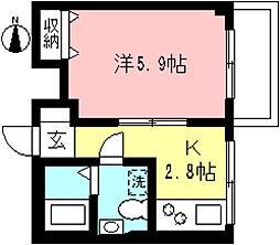 リヴェール永山 2階1Kの間取り