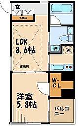 小田急小田原線 祖師ヶ谷大蔵駅 徒歩9分の賃貸マンション 5階1LDKの間取り