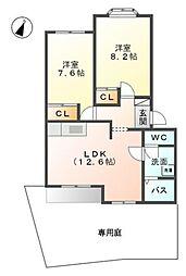 愛知県愛知郡東郷町大字和合字知々釜の賃貸アパートの間取り
