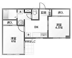 JR中央線 西八王子駅 徒歩10分の賃貸マンション 3階2DKの間取り