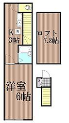 東京都大田区上池台5丁目の賃貸アパートの間取り