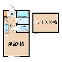 神奈川県横浜市神奈川区三ツ沢東町の賃貸アパートの間取り