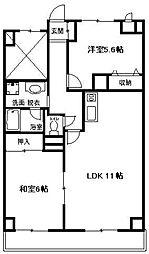 神奈川県平塚市南原1丁目の賃貸マンションの間取り