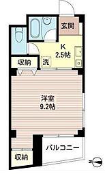 川越屋ビル 5階1Kの間取り