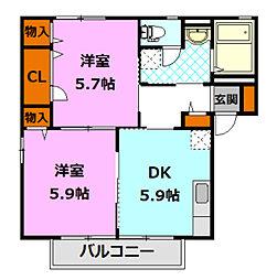 シャーメゾンしらさぎ B[2階]の間取り