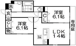 D-room伊加賀西町 1階2LDKの間取り