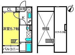 埼玉県さいたま市見沼区東大宮1丁目の賃貸アパートの間取り