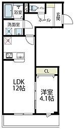 JR南武線 久地駅 徒歩8分の賃貸アパート 3階1LDKの間取り