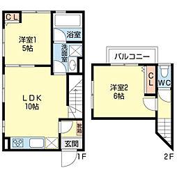 [テラスハウス] 千葉県船橋市西船1丁目 の賃貸【/】の間取り