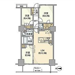 プライムパークス品川シーサイド ザ・タワー 7階3LDKの間取り
