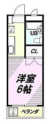 京王高尾線 めじろ台駅 バス8分 寺田センター下車 徒歩3分の賃貸マンション 2階1Kの間取り