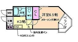 阪急箕面線 箕面駅 徒歩2分の賃貸マンション 2階1Kの間取り
