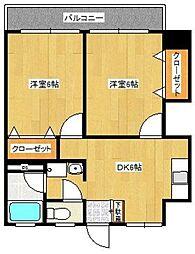 合川ハイツ[402号室]の間取り