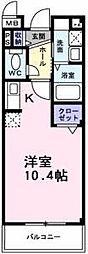 南海高野線 萩原天神駅 徒歩3分の賃貸マンション 1階ワンルームの間取り