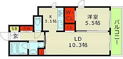 Osaka Metro今里筋線 新森古市駅 徒歩3分の賃貸マンション 5階1LDKの間取り