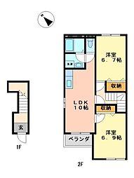 愛知県長久手市岩作東島の賃貸アパートの間取り