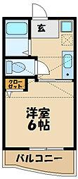 小田急小田原線 喜多見駅 徒歩18分の賃貸アパート 2階1Kの間取り