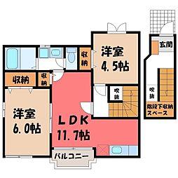 栃木県真岡市中郷の賃貸アパートの間取り