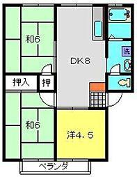 神奈川県横浜市瀬谷区宮沢2の賃貸アパートの間取り
