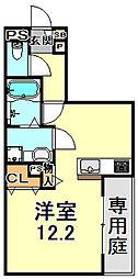 JR東海道・山陽本線 三ノ宮駅 徒歩13分の賃貸アパート 1階ワンルームの間取り
